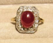 Antique 14k Yellow Gold Natural Ruby Cabochon W/ Old Cut Diamonds Ring