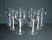 Mikasa Frosted Stem Crystal Wine Goblets Perspective Pattern Set Of 8 New