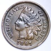 1897 1 In Neck Error Indian Head Cent Penny Choice Au Free Shipping E149 Kc