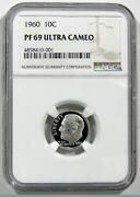 1960 10c Silver Roosevelt Dime Ngc Proof 69 Ultra Cameo