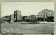 Vintage 1920s Old Cars At High School In Richmond California Postcard
