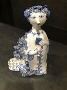 Bjorn Winblad Early Hand Signed Dated 1958 9 In Statue In Blue And White