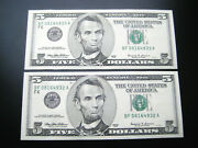 25 1999 Bf Consecutivefederal Reserve Choice Unc Gem Bu Note