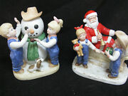 Homco Denim Days Debbie And Danny Our Snowman And Santa's Visit Figurines