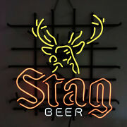 Neon Signs Gift Stag Beer Beer Bar Pub Store Party Home Room Wall Display 24x24
