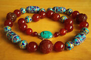 Amazing Vintage Jade Red Carnelian Bead Cloisonne Sterling Tuquoise Necklace 27