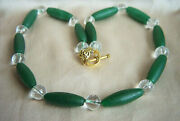 Fabulous Vintage Barrel Jade And Faceted Rock Crystal Bead Necklace 21 1/2