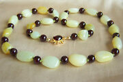 Fabulous Chinese Vintage Hetian Pebble Nephrite Jade And Garnet Necklace 24