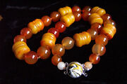 Stunning Chinese Large Vintage Rustic Red Jade And Carnelian Necklace 228.5g 24.5