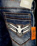 118 American Fighter Ufc Mens Jeans Legend Leather Inserts Slim Straight 32