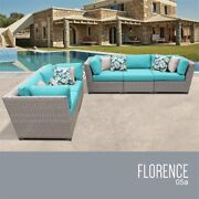 Tk Classics Florence 5-piece Patio Wicker Sofa Set In Turquoise
