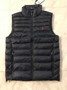 Nwt Polo Menand039s Navy Blue Packable Quilted Vest 188 - Xs