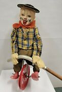 Vintage 1950s Fewo Unicycle Tight Rope Walker Celluloid Clown Toy Made Germany