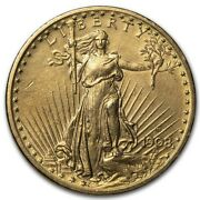 1908-d 20 Saint-gaudens Gold Double Eagle W/motto Cleaned - Sku229349