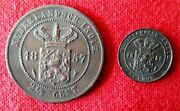 Netherlands Indie Two Coins 1857 2 1/2 Cent Xf+ And 1858 1/2 Cent Au