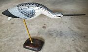 Vintage Carved And Painted Wooden Shore Bird Signed Ed Hageman 1981