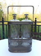 Vintage Musical Pair Of Blown Glass Liquor Decanters In Metal Holder