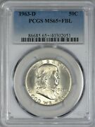 1963 D Franklin Silver Half Dollar Pcgs Ms65+ Fbl - Lucious Silky White Surfaces