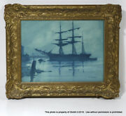 Antique Signed Peter Fraser Framed Watercolor Painting Ship In Harbor At Night