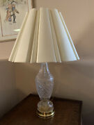 """Vintage Waterford Crystal Ireland Lamps, W/silk Shades, 18"""" Tall,"""
