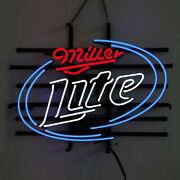 Miller Lite Neon Signs Gift Beer Bar Pub Store Party Home Room Wall Decor 24x24