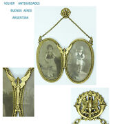 Antique French Bronze Ormolu Double Oval Picture Frame Winged Mith Goddess