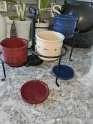 Longaberger Pottery Crock Set With Iron 3 Tier Iron Stand- Red, White And Blue