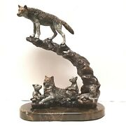 Legends Wolf Sculpture Renewal By K. Cantrell 1993. Lmt Ed 370/500. Mixed Media