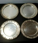 12 Early Antique Silver On Copper Serving Under Plates Grape Pattern Sheffield