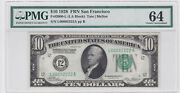 1928 10 Federal Reserve Note 4 Digit Solid 2and039s Serial Number L00002222a Pmg64
