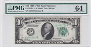 1928 10 Federal Reserve Note 4 Digit Solid 2's Serial Number L00002222a Pmg64