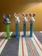 Pez Dispensers White And Grey Easter Bunny Vintage Lot Of 4