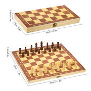Wooden Chess Set Folding Portable Large International Chessboard Checkers J3y9