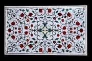 3and039x2and039 White Marble Stone Inlay Center Coffee Dining Table Top Antique Home Decor