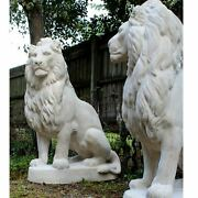 Lions Life Size Statues English Regal Pair Of Faux Marble Mansion Driveway