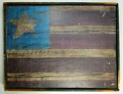 Americana Carved Polychrome Red White Blue Wood 4 Stripe And 1 Star Usa Style Flag