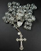 Rare Vintage Rosary Faceted Round Rock Crystal Beads 32 136 G Sterling Crucifix