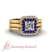 80 Ct Asscher Cut Diamond And Blue Sapphire Floating Halo Trio Wedding Rings Set