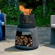 Outdoor Fire Pit Column Round 30 Tall Large Wood Burning Fireplace W Log Grate