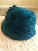 Vintage Teal Blue Feather Hat Woodward And Lothrop Washington Dc Union Made