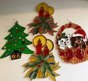 Set Of 4 Vintage Christmas Decorations - Xmas Baubles -