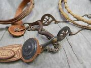 19th Cent. Mexican Military Parade Bridle Bit And Rawhide Reins W/ Silver Conchos