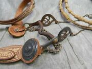19th Cent. Mexican Military Parade Bridle, Bit And Rawhide Reins W/ Silver Conchos