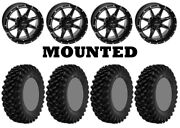 Kit 4 Superatv Xt Warrior Std Tires 35x10-15 On Quadboss Slicer Gloss Black Ter