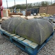 Large Pair Reclaimed 25 X 27 Inch Dome Shaped Gritstone Pier Pillar Caps Rwi5058