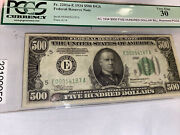 500 Bill Fr.2201ae 1934dgs Fed Reserve Note Invery Fine Comdition Pces30freesh