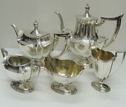 Gorham 5 Piece Sterling Plymouth Coffee And Tea Set 1911