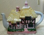 Decorative English European Thatched Roof Farmhouse Cottage Teapot Pink Green
