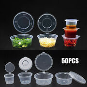 50/100pcs Disposable Clear Plastic Sauce Chutney Cups Food Container Storage Box