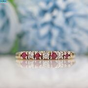 Ruby And Diamond 9ct Gold Half Eternity Band Ring - 2009